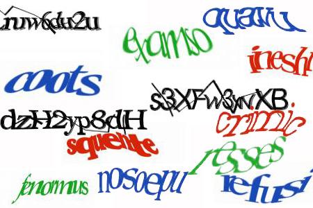 Exemples de CAPTCHA difficilement lisible...même pour l'être humain.
