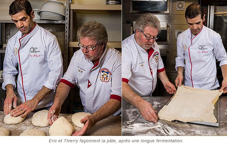 Façonnage de la pâte à Pizza par Eric Delagarde et Thierry Graffagnigno